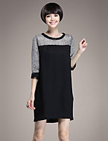 Women's Plus Size Street chic Loose DressPatchwork Round Neck Above Knee  Length Sleeve Black Linen Spring