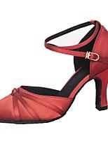 Customizable Women's Latin Ballroom Dance Modern Shoes Satin Sandals Customized Heel Professional / Indoor Yellow / Red