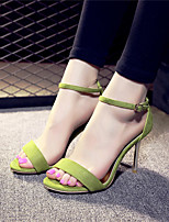 Women's Sandals Spring Summer Fall Fleece Casual Stiletto Heel Buckle Black Green Silver Others