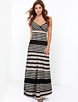 Women's Party/Cocktail / Club Sexy / Street chic Backless Split Sheath DressStriped Strap Maxi Sleeveless Mid Rise