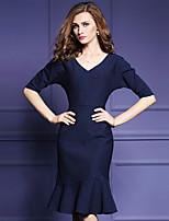 Women's Plus Size / Going out Simple Trumpet/Mermaid DressPolka Dot V Neck Knee-length  Length Sleeve Blue / Red
