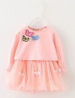 Girl's Casual/Daily Solid Dress / Blouse / Clothing SetCotton Spring / Fall Blue / Pink / Red