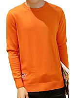 Мужской Однотонный Пуловер На каждый день / Для офиса / Для торжеств и мероприятий / Большие размеры,Хлопок,Длинный рукав,Черный / Синий