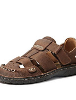 Men's Sandals Summer Sandals / Closed Toe Leather Casual Flat Heel Others Black / Brown / Khaki Others