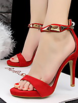 Women's Heels Summer Basic Pump Leatherette Party & Evening Stiletto Heel Others Black / Pink / Red / Silver /