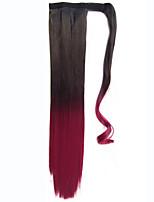 Черный синтетический Хвостик Прямые Clip In Хвостик 56cm грамм Средний (90г-120г) Количество