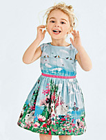 Girl's Casual/Daily Floral DressCotton Summer Blue