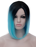 Cosplay Wigs Black Gradient Shallow Blue Wigs Points Bobo Short Wig 12 Inch
