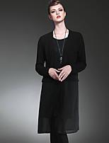 LUTING® Damen V-Ausschnitt Lange Ärmel Pullover & Cardigan Schwarz / Grau-6025