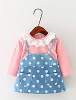 Girl's Casual/Daily Polka Dot Dress / Blouse / Clothing SetCotton Spring / Fall Pink / Yellow
