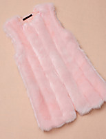 Women's Plus Size / Casual Simple Fur CoatSolid Round Neck Sleeveless Winter Pink / White / Black / Gray Faux Fur Thick