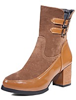 Feminino-Botas-Plataforma Conforto Inovador Botas de Cowboy Botas de Neve Botas Montaria Botas da Moda-Salto Grosso Plataforma-Preto