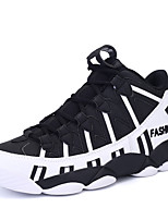 Men's Sneakers Spring / Fall Comfort / Round Toe PU / Tulle Athletic Flat Heel Lace-up Black / White Sneaker
