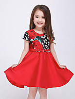 Girl's Casual/Daily Patchwork DressCotton / Polyester Summer / Spring / Fall Red