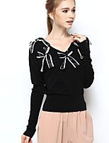 NAKED ZEBRA Women's V Neck Long Sleeve Sweater & Cardigan Black-UW12029