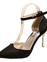 Damen-High Heels-Lässig-Stretch - Satin-Stöckelabsatz-Absätze-Schwarz / Lila / Weiß / Gold