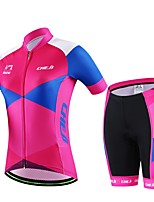 Women's Summer Cycling Pink Short Shirt Bicycle Breathable Quick Dry Jersey Bike 3D Cushion Pad Shorts Suit