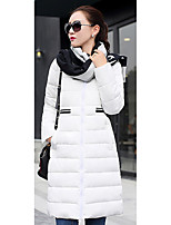 Women's Solid White / Black / Gray Down CoatSimple Crew Neck Long Sleeve