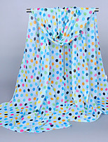 Women's Chiffon Color Dots Print Scarf Orange/Pink/Beige/Khaki/Blue