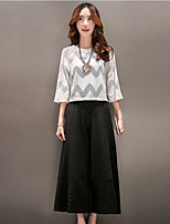 Boutique S Going out Street chic Summer T-shirt Pant Round Neck  Length Sleeve White Cotton Medium