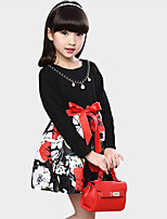 Girl's Casual/Daily Floral Dress / Clothing SetCotton Summer Black / Red