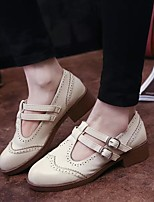 Women's Oxfords Spring / Summer / Fall / Winter Ballerina PU Casual Low Heel Buckle Black / Gray / Beige Others
