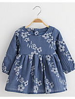 Girl's Casual/Daily Print DressCotton / Rayon Spring / Fall Blue / Pink