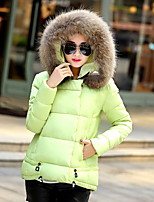 Women's Solid Red / White / Black / Green Padded CoatStreet chic Hooded Long Sleeve