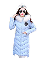 Women's Patchwork Fur Collar Cotton-padded Jacket Coat Cute / Street chic Hooded Long Sleeve