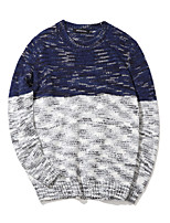 Men's Personality Spell Color Slim Knit PulloverCotton / Polyester Long Sleeve Blue / Brown