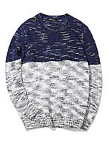 Мужской Контрастных цветов Пуловер На каждый день / Большие размеры,Хлопок / Полиэстер,Длинный рукав,Синий / Коричневый