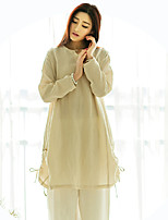 Ramie Cotton Women's Casual/Daily Chinoiserie DressSolid Round Neck Knee-length Long Sleeve Beige Linen Spring