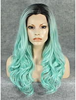 IMSTYLE 24 Hot Selling Green Hair with Dark Root Long Wave Synthetic Lace Front Wig For Party