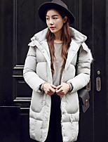 Women's Solid Pink / Black / Gray / Green Padded CoatStreet chic Hooded Long Sleeve