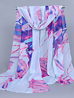 Women's Chiffon Flowers Print Scarf Blue/Pink/Purple/White