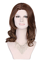 Brown Full Lace Wig Long Natural Curl Synthetic Lace Full Wig Brown Lace Wig