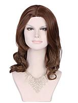 коричневый полный парик шнурка долго естественный завиток синтетический парик полный парик коричневый парик шнурка