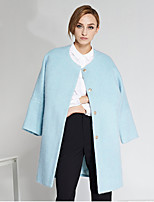 C+IMPRESS Women's Going out Simple CoatSolid / Color Block Round Neck Long Sleeve Winter Blue Wool / Polyester Medium