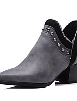 Women's Pull On Pointed Closed Toe Kitten Heels Ankle High Boots