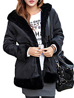 Women's Solid Black Padded CoatSimple Hooded Long Sleeve