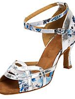 Customizable Women's Dance Shoes Satin Latin / Salsa Sandals / Heels Customized Heel Practice / Indoor White