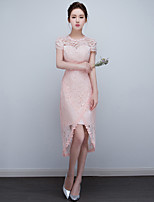 Cocktail Party Dress Sheath / Column High Neck Asymmetrical Lace with Appliques