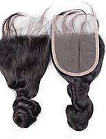 8inch to 20inch Черный 4x4 Закрытие Свободные волны Человеческие волосы закрытие Умеренно-коричневый Швейцарское кружево about 30g грамм