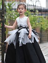 Ball Gown Floor-length Flower Girl Dress - Tulle / Charmeuse Sleeveless Jewel with Beading / Lace