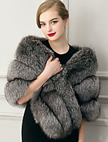 Women's Wrap Capelets Sleeveless Faux Fur Gray Wedding / Party/Evening / Casual Shawl Collar