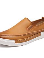 Herren-Loafers & Slip-Ons-Lässig-Leder-Flacher Absatz-Komfort-Schwarz / Gelb / Grau