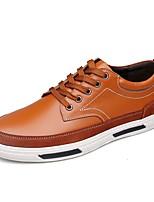 Черный / Синий / Коричневый-Мужской-На каждый день-Кожа-На плоской подошве-Удобная обувь-Туфли на шнуровке