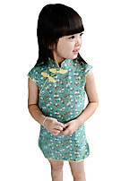Girl's Casual/Daily Print DressCotton Summer Blue / Green / Red