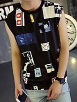 Men's Print Casual T-ShirtCotton Short Sleeve-Black / White
