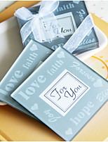 Practical Favors-2pcs LOVE Faith and Hope Photo Frame Glass Coaster  Bridesmaids / Bachelorette / Baby Shower Favors